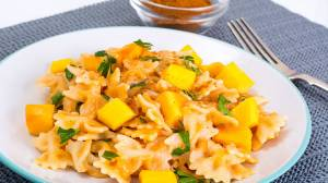 Pasta con calabaza y curry